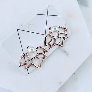 5 for $25 Rose Gold Double Sided Lotus Earrings